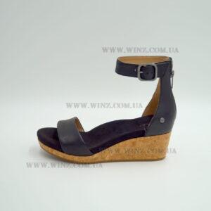 Женские босоножки Ugg Zoe II Leather Wedge Sandals чёрные