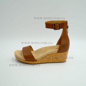 Женские босоножки Ugg Zoe II Leather Wedge Sandals коричневые